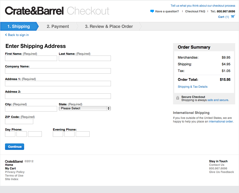 Crate & Barrel's checkout funnel