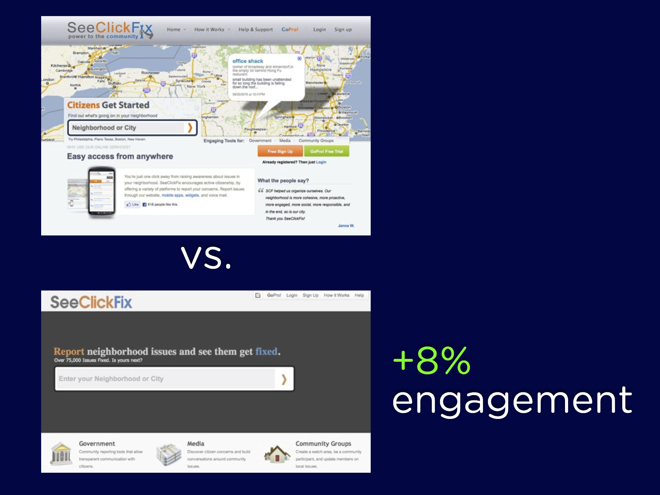 """""""SeeClickFix call-to-action comparison"""""""