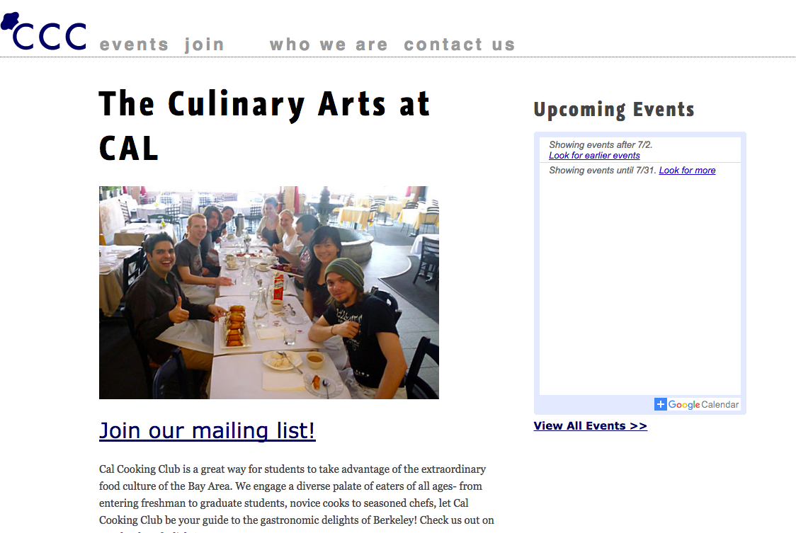 Cal Cooking Club homepage