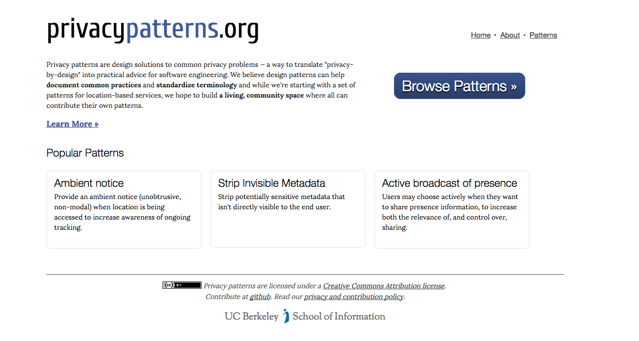 Privacy Patterns homepage