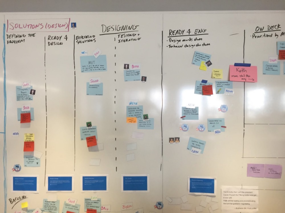 Optimizely's Discovery kanban board