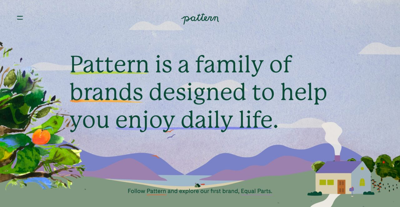 Screenshot of Mackinac as the headline font for Pattern Brands.